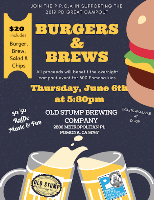 Burgers & Brews Fundraiser -  June 6 at 5:30 PM
